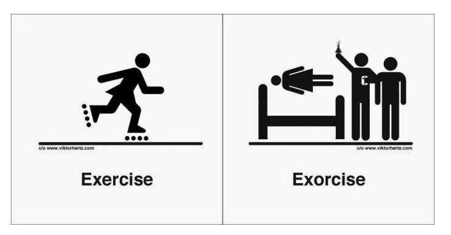 Traducões palavras homofonas - exercise e exorcise