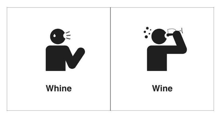 Traduções palavras homofonas - whine e wine